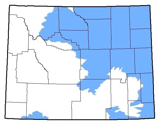 Wyoming map of the native range for the Rocky Mountain Toad
