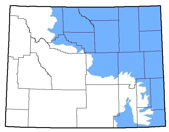 Map of Plains Spadefoot territory in Wyoming