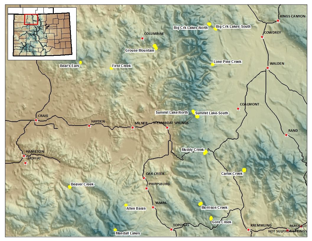 Map of the Routt National Forest Catchment Locations